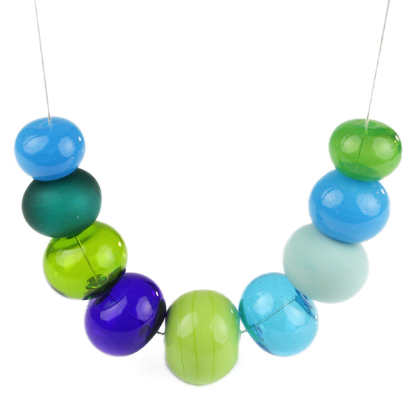 Bubble necklace - blues and greens