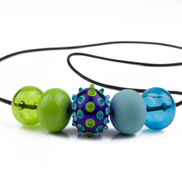 5 bubble bead necklace - blue and green with focal bead
