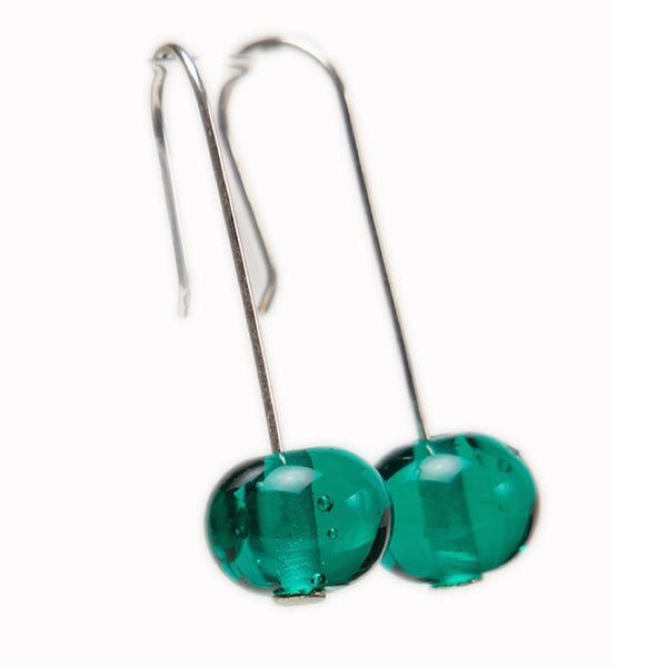 Bubble bead earrings - teal
