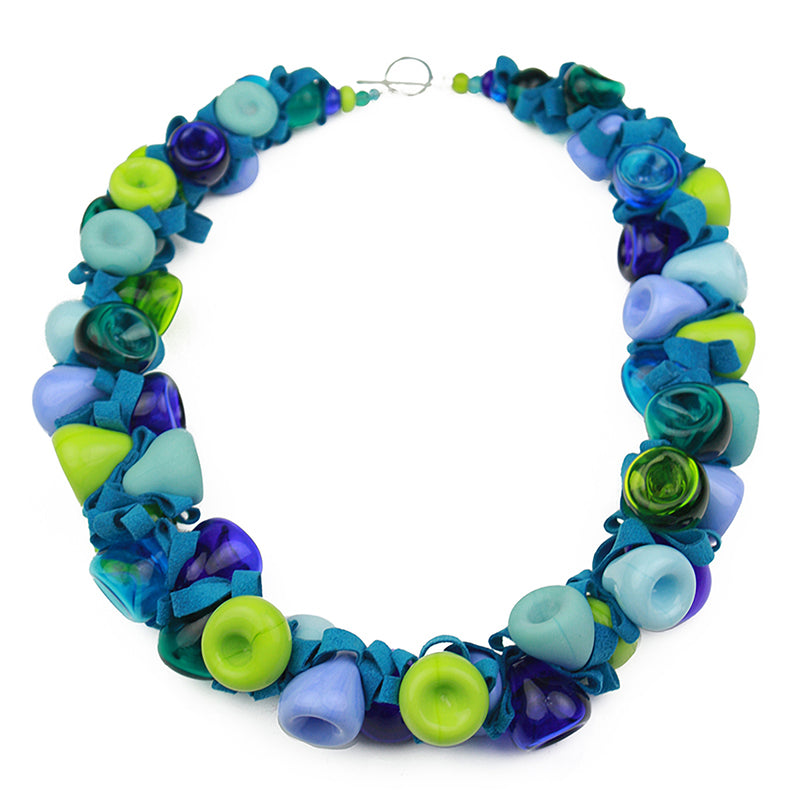 Ribbon necklace - blue and green