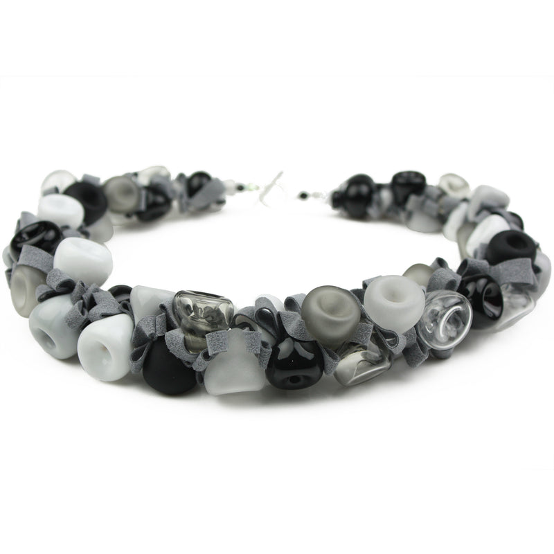 Ribbon necklace - black, white and gray