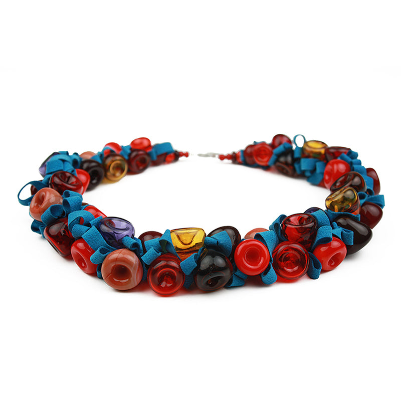 Ribbon necklace - red, orange and blue