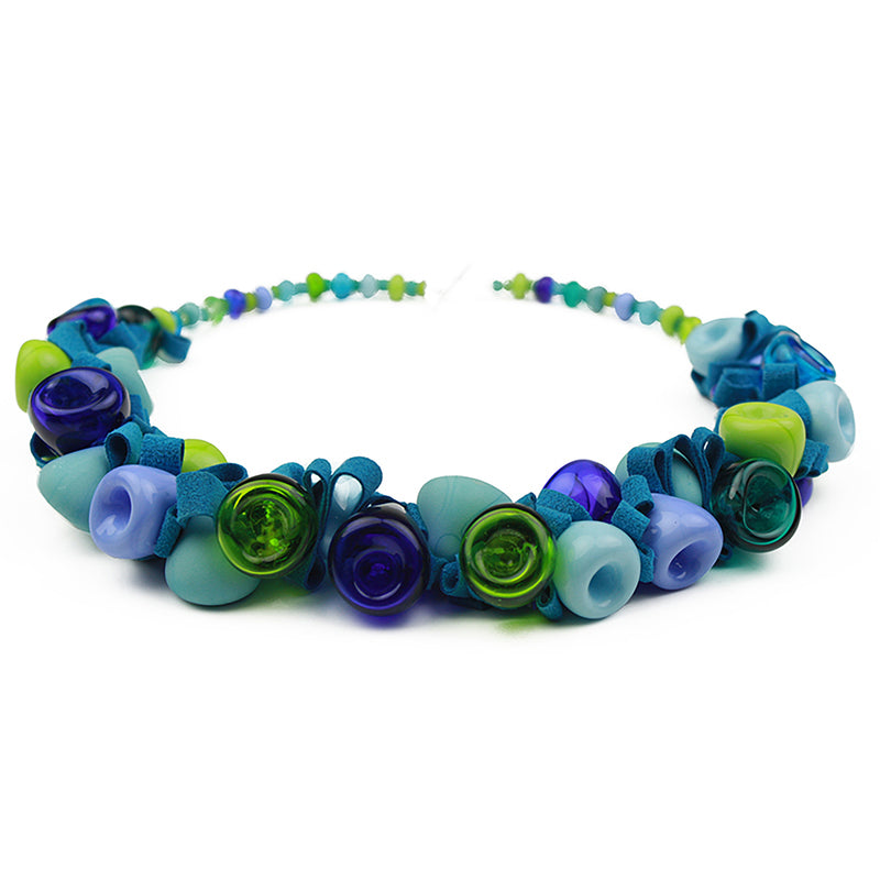Demi ribbon necklace - blue and green