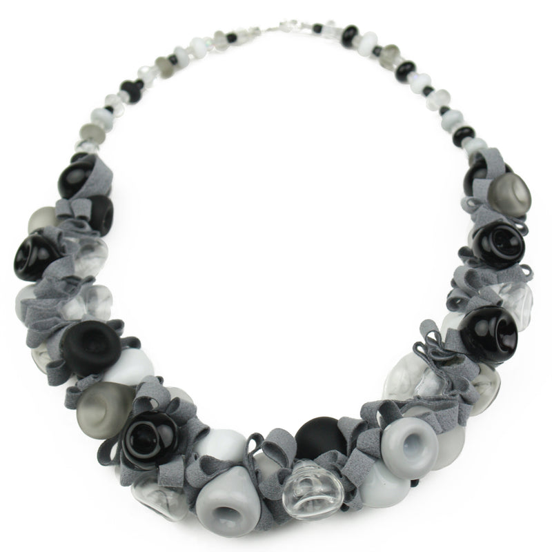 Demi ribbon necklace - black, white and gray