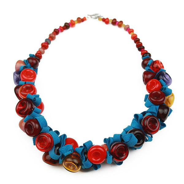 Demi ribbon necklace - red, orange and blue