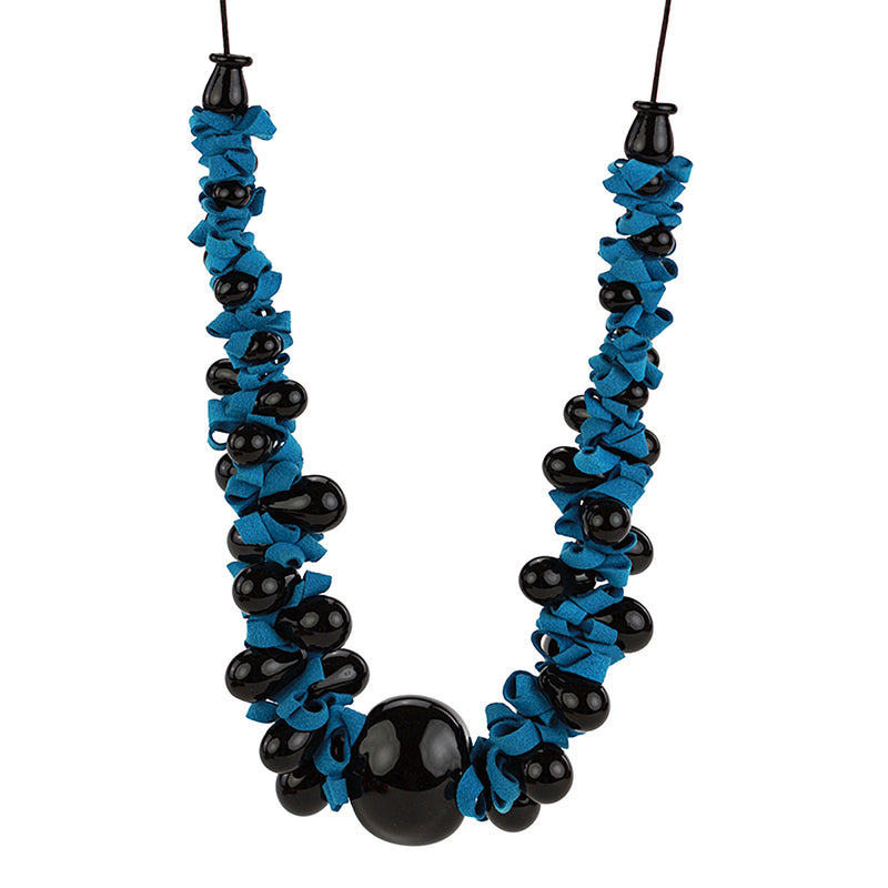 Ribbon necklace with focal bead -black and blue