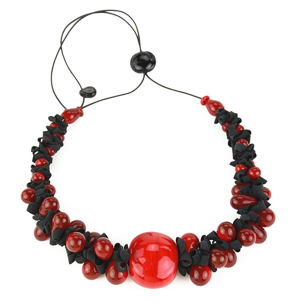 Ribbon necklace with focal bead -black and red