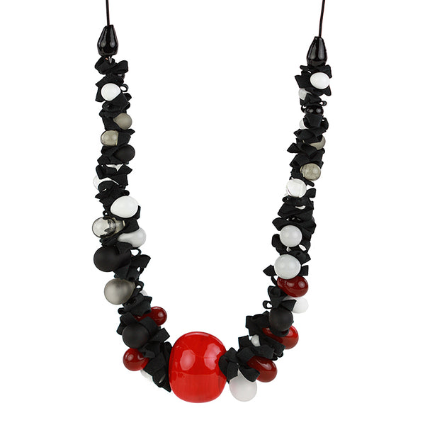 Ribbon necklace with focal bead -black white and red