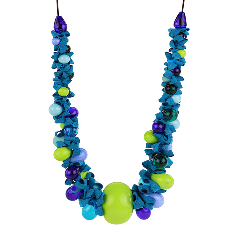 Ribbon necklace with focal bead -mixed shades of blues and greens