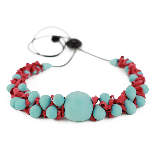 Ribbon necklace with focal bead -turquoise and red