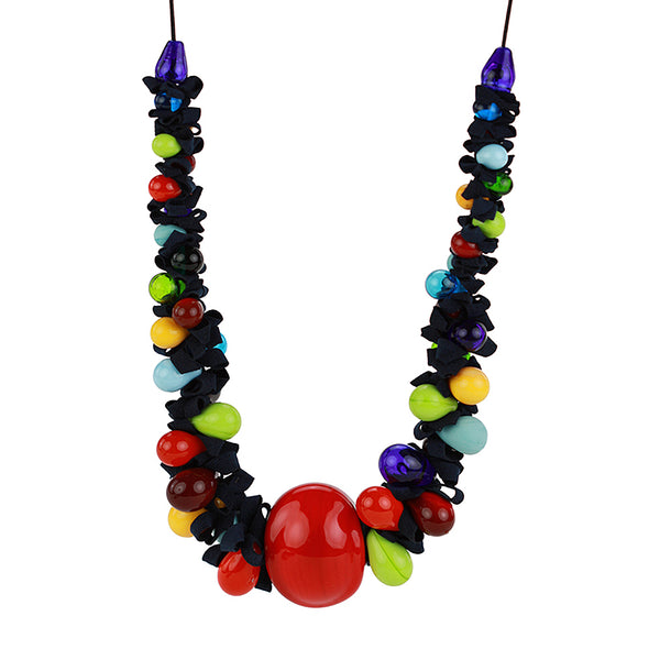 Ribbon necklace with focal bead -Multicolour