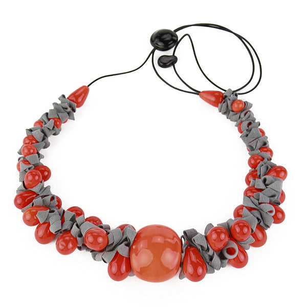 Ribbon necklace with focal bead -orange and grey