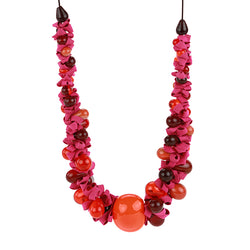 Ribbon necklace with focal bead -mixed shades of reds and orange and pink