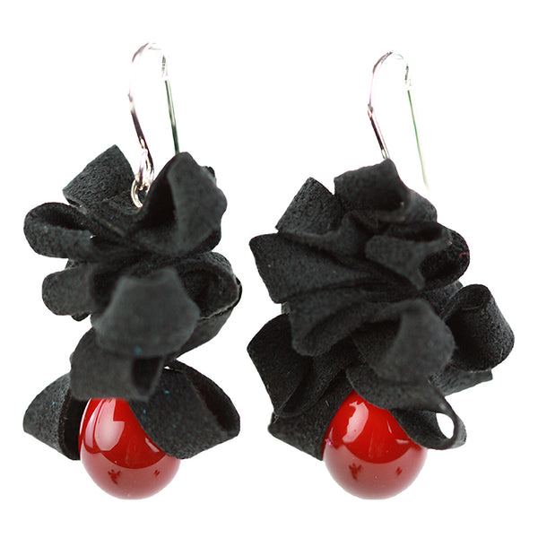 Ribbon earrings -black and red