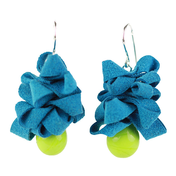Ribbon earrings -blue and green