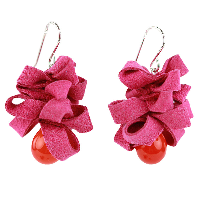 Ribbon earrings -Pink and orange