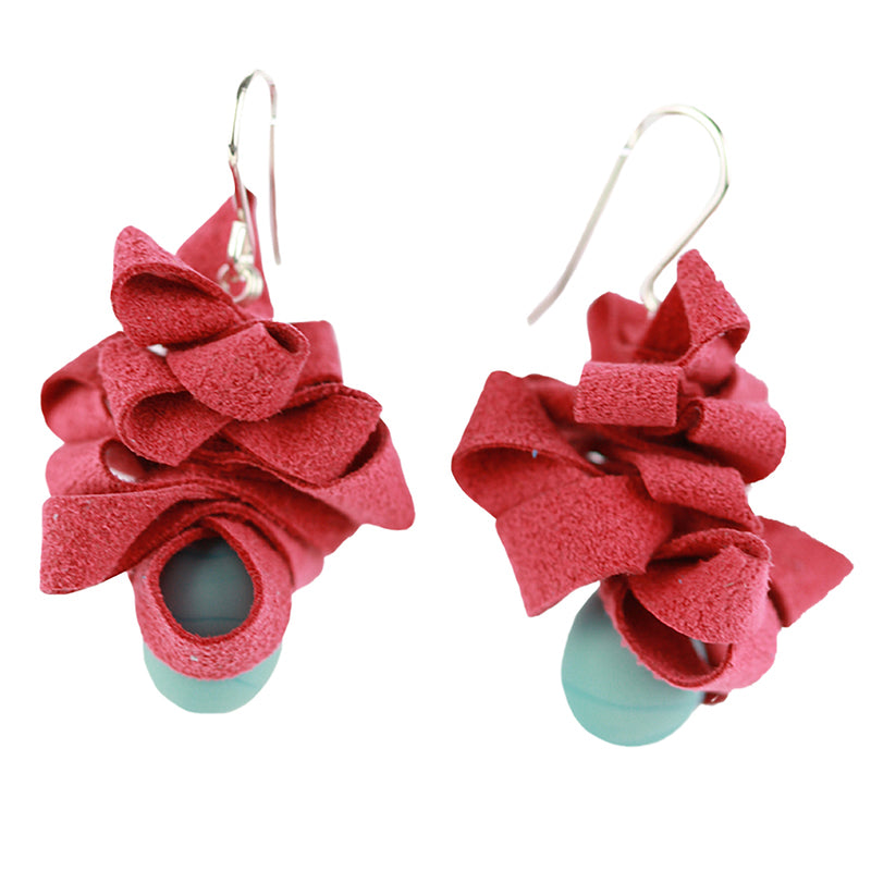 Ribbon earrings -Red and turquoise