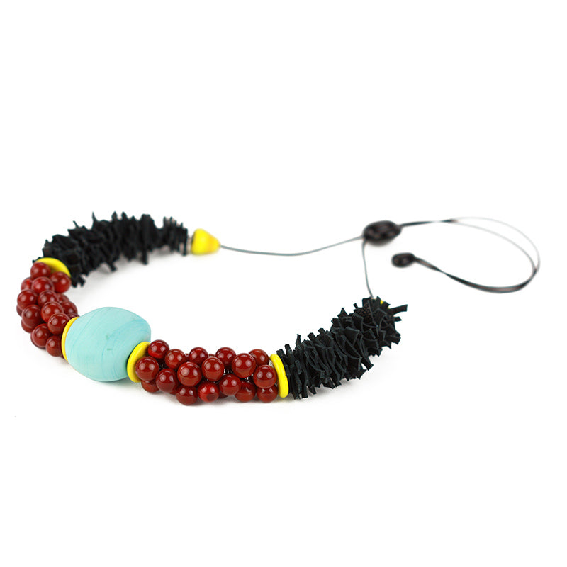 Textures necklace in turquoise, red and black