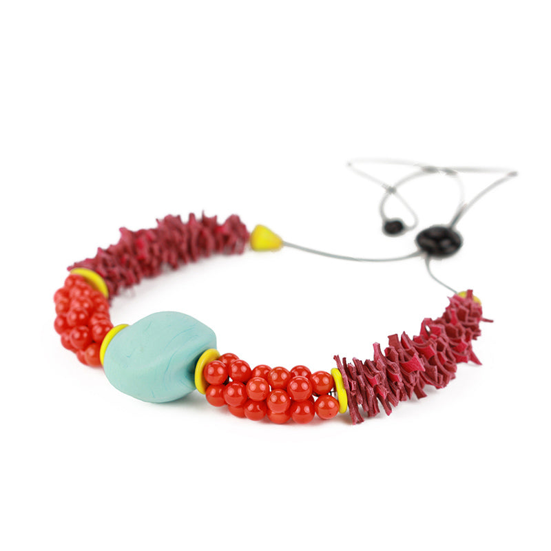 Textures necklace in turquoise, orange and pink
