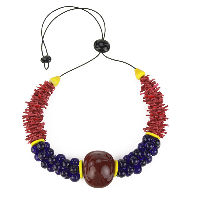 Textures necklace in burgundy, cobalt and red