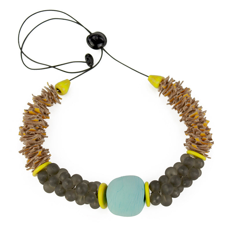 Textures necklace in Turquoise, soft grey and yellow