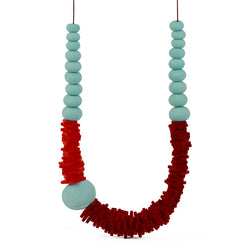 Textures 2 necklace -orange, red and blue