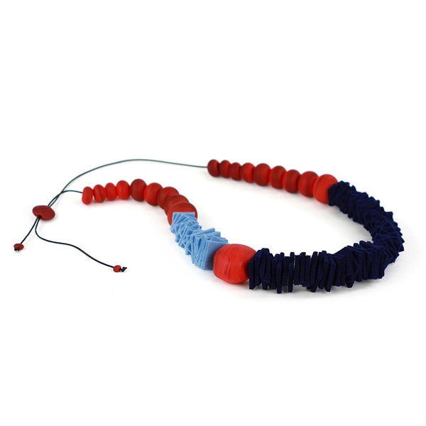 Textures 2 necklace -blue and red