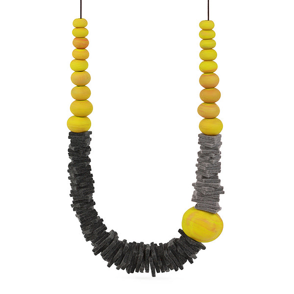Textures 2 necklace -grey and yellow