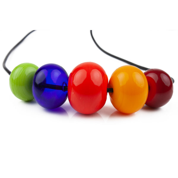 5 bead necklace - multi-colored