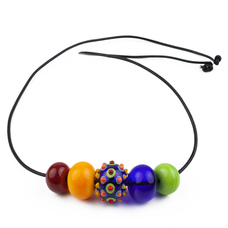 5 bubble bead necklace - multi-colored with focal bead