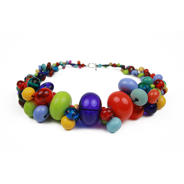Cluster necklace - multi-color