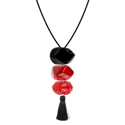 Connie 3 bead with Tassel 0-Black and red