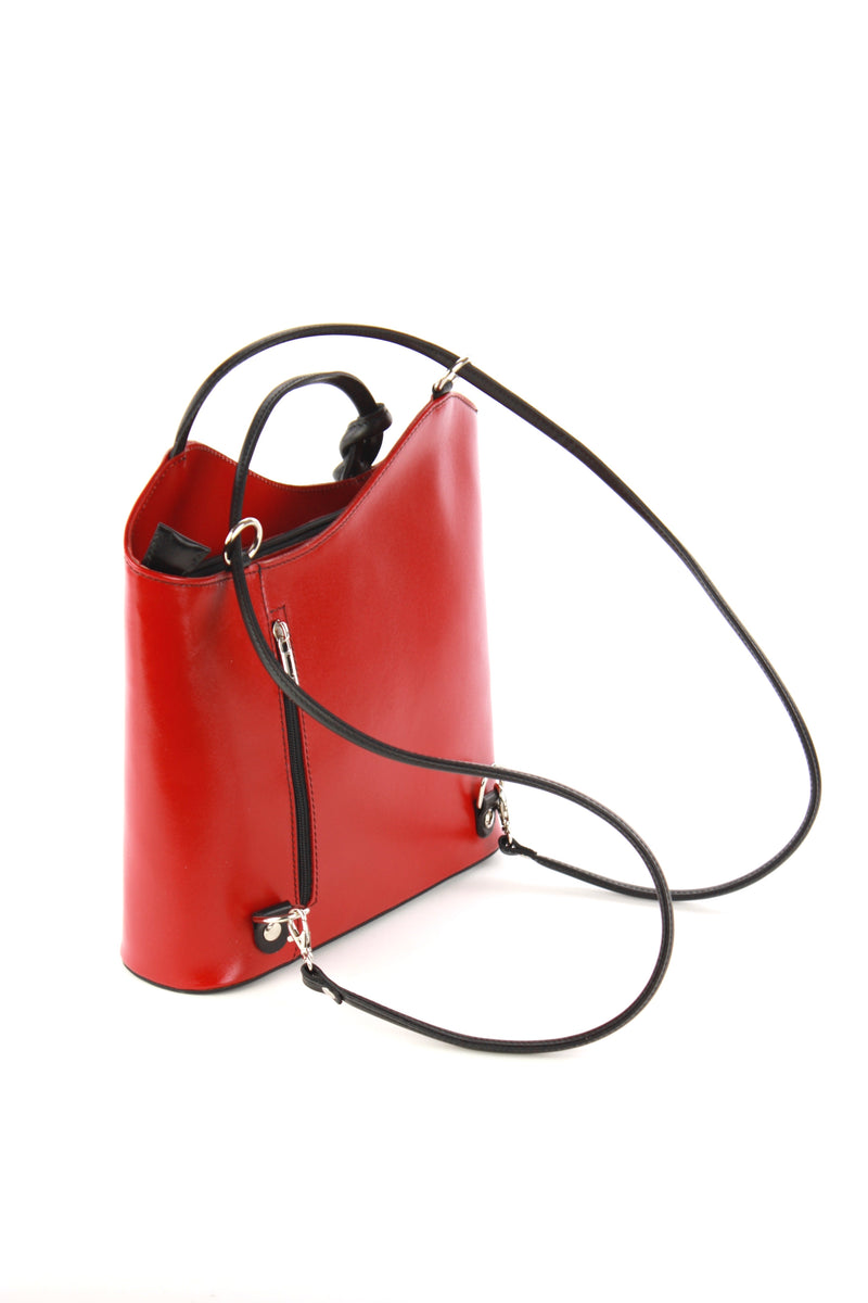 Cloe hand bag in red with black trim