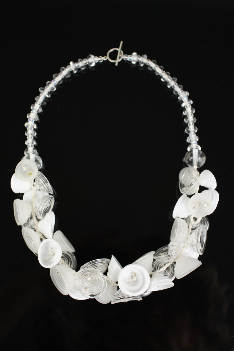Demi pod necklace - white and clear