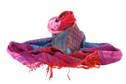 Viva scarf -blue, red, purple and pink