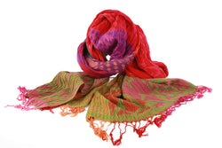 Viva scarf -moss, red, purple and pink