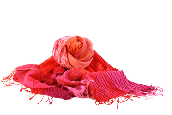 Viva scarf -red, orange and light pink