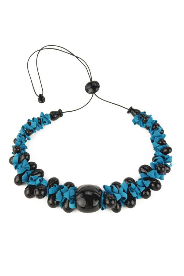 Ribbon necklace with focal bead -black and blue -wholesale