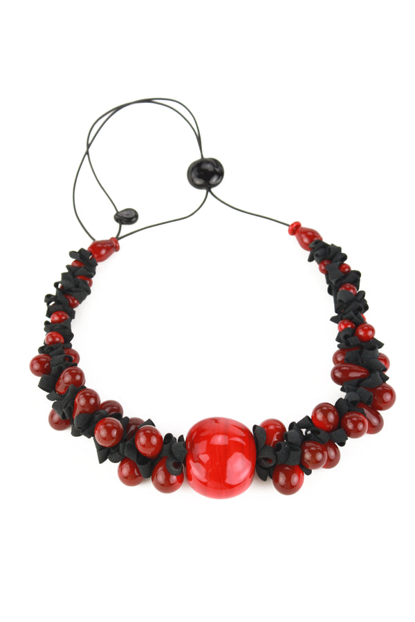 Ribbon necklace with focal bead -black and red -wholesale