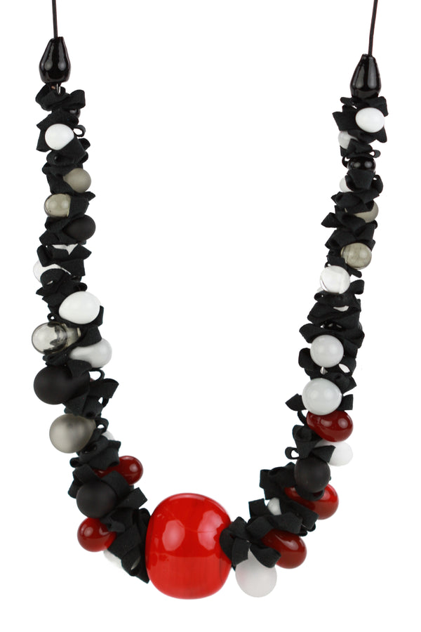 Ribbon necklace with focal bead -black white and red -wholesale