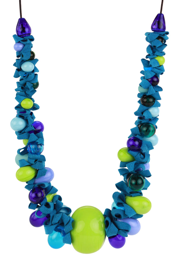 Ribbon necklace with focal bead -mixed shades of blues and greens -wholesale