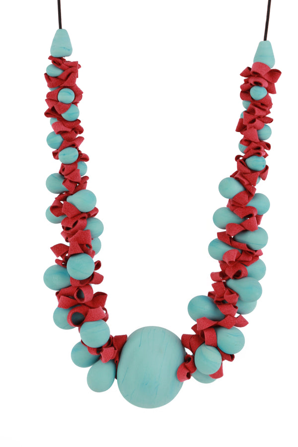 Ribbon necklace with focal bead -turquoise and red -wholesale