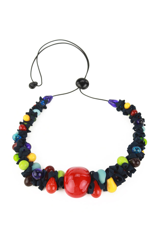 Ribbon necklace with focal bead -Multicolour -wholesale