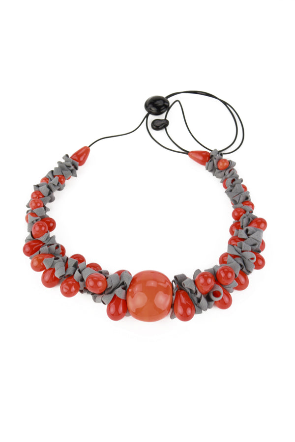 Ribbon necklace with focal bead -orange and grey -wholesale