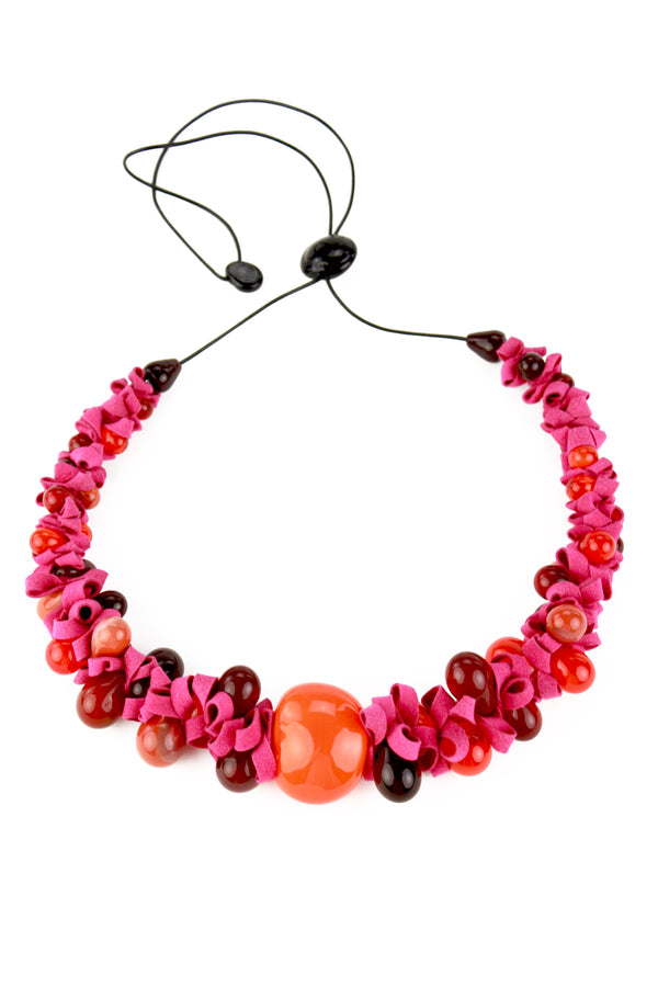 Ribbon necklace with focal bead -mixed shades of reds and orange and pink -wholesale