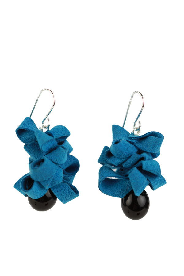 Ribbon earrings -blue and black -wholesale