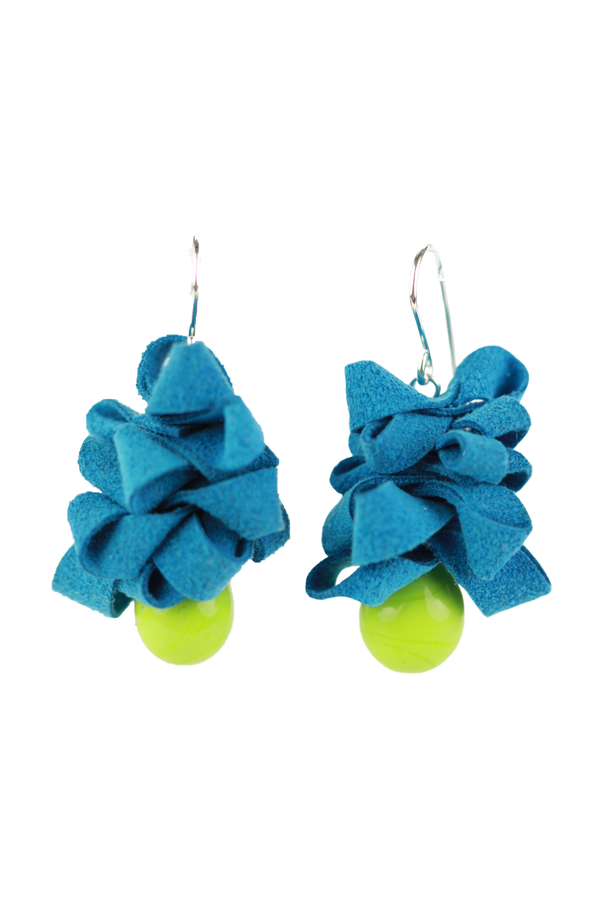 Ribbon earrings -blue and green -wholesale