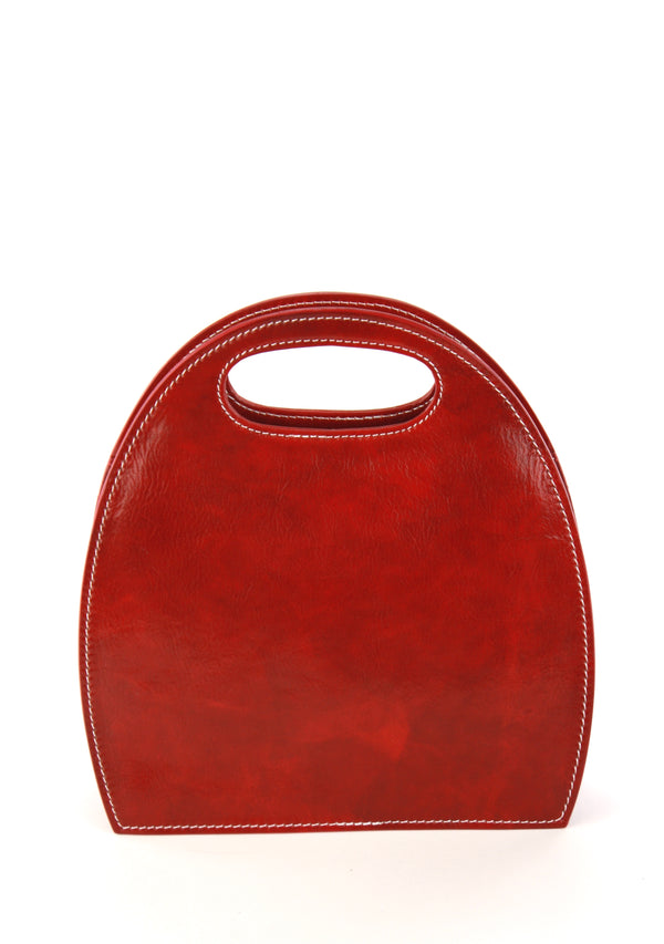 Semi Oval handbag in dark red