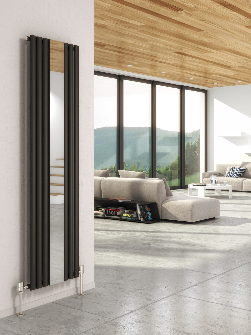 DQ Cove Vertical Designer Radiator with Mirror
