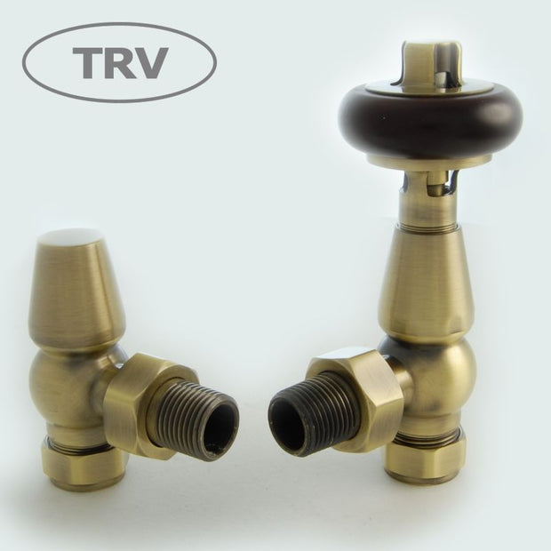 Faringdon Traditional Thermostatic Radiator Valve - Antique Brass (Angled TRV)